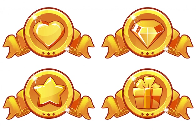 Cartoon gold icon design for game, ui vector banner, star, heat, gift and diamond icons set Premium Vector