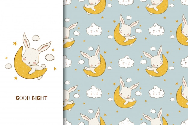 漫画の月に赤ちゃんバニーキャラクターのおやすみカード。シームレスパターン。手描きデザイン Premiumベクター