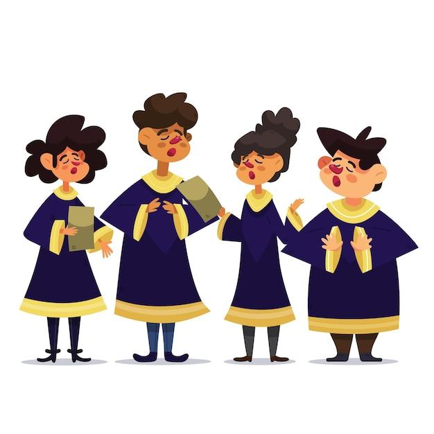 Cartoon gospel choir illustration Free Vector