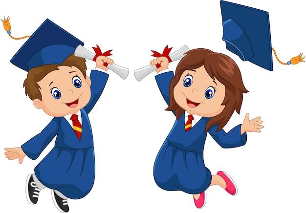Cartoon graduation celebration Premium Vector