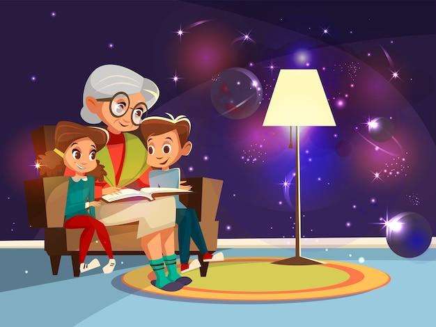 Cartoon grandmother reading astrophysics, cosmos space science book Free Vector