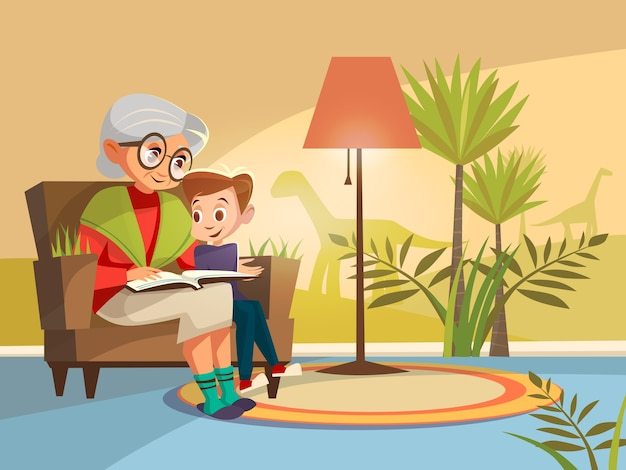 Cartoon grandmother reading book to boy kid sitting armchair. Premium Vector