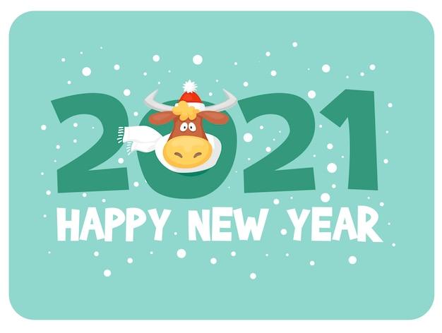 漫画のグリーティングカードブルの新年あけましておめでとうございます Premiumベクター