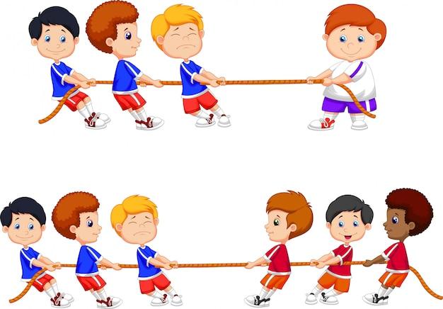 Cartoon group of children playing tug of war Premium Vector