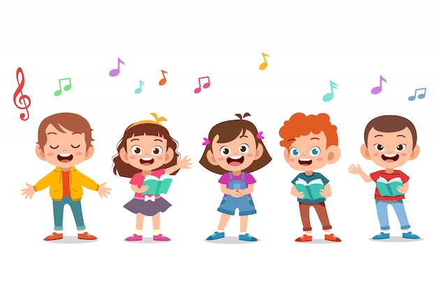 Cartoon group of children singing in the school choir Premium Vector