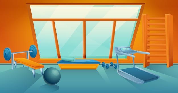 Мультяшный тренажерный зал с оборудованием, векторная иллюстрация Premium векторы