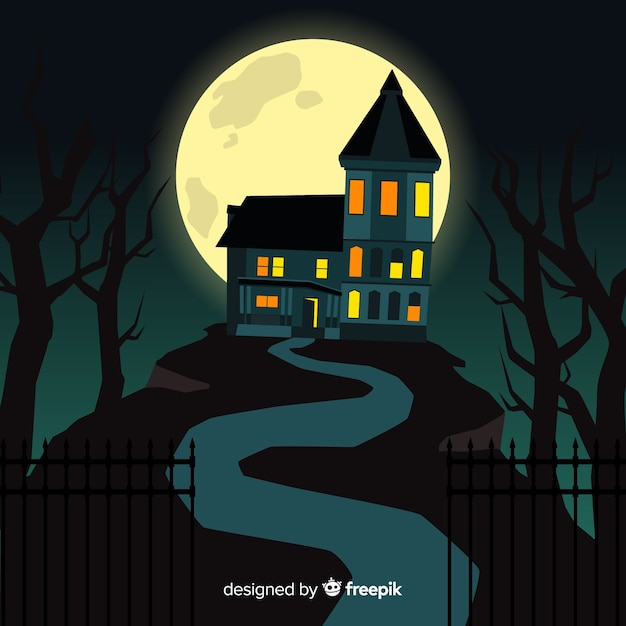 Cartoon halloween haunted house Free Vector