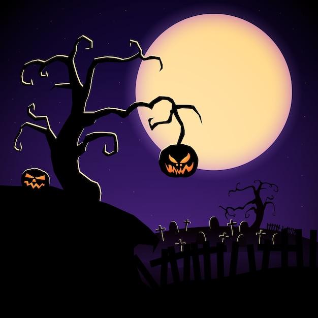 怖い木の邪悪なカボチャと墓地と漫画のハロウィーンのイラスト 無料ベクター