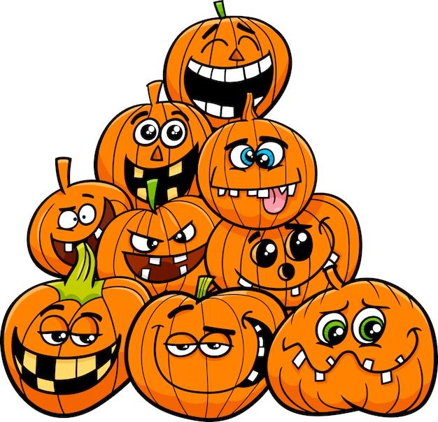 Cartoon halloween pumpkins group vector premium download cartoon halloween pumpkins group premium vector thecheapjerseys Choice Image