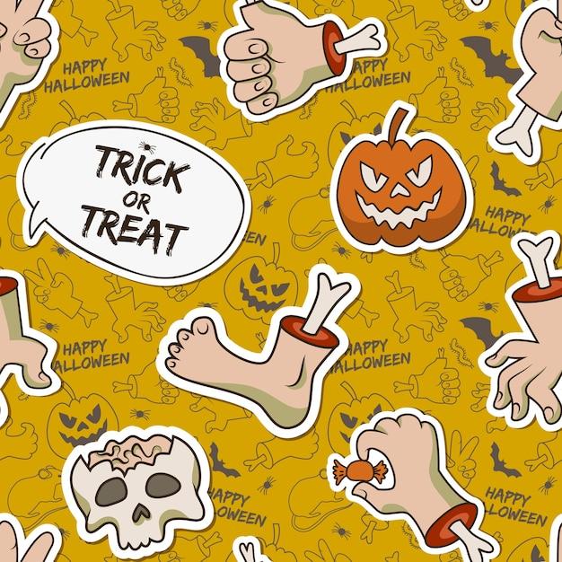 Cartoon halloween seamless pattern with paper skull zombie arms leg creepy pumpkin caterpillar candy Free Vector
