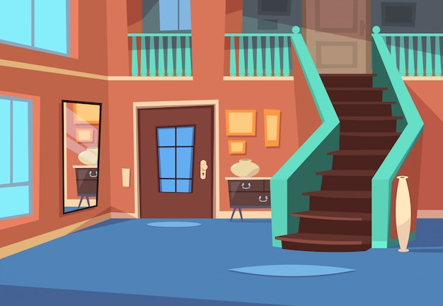 Cartoon hallway. house entrance interior with stairs and mirror. Premium Vector