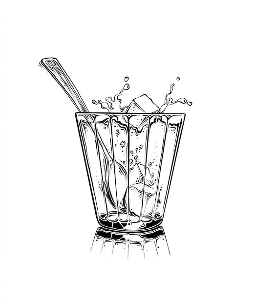 Cartoon hand drawn cup of tea with sugar cubes and spoon in black color. isolated on white background. drawing for posters, decoration and print. vector sketch illustration Premium Vector