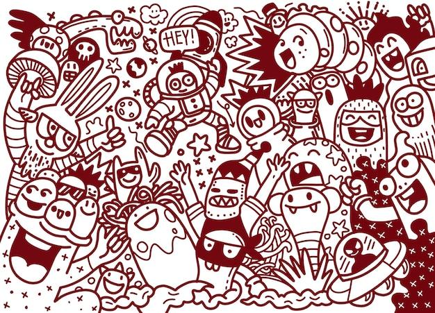 Мультфильм рисованной каракулей праздник плакат шаблон. очень подробный, с множеством иллюстраций объектов. смешные произведения искусства. разработка фирменного стиля. Premium векторы