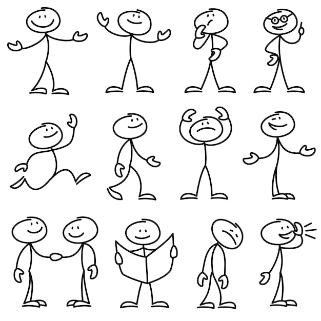 Premium Vector Cartoon Hand Drawn Stick Man In Different Poses Set