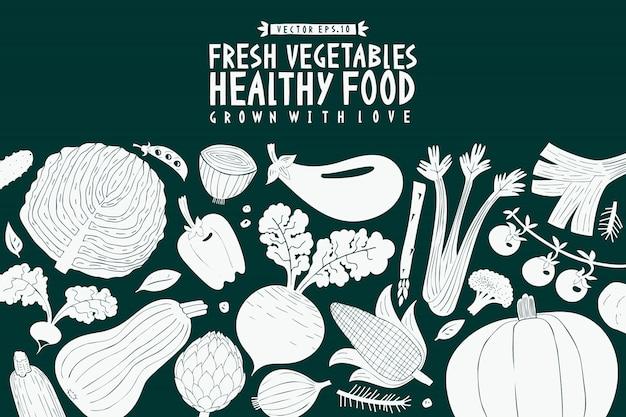 Cartoon hand drawn vegetables design template Premium Vector