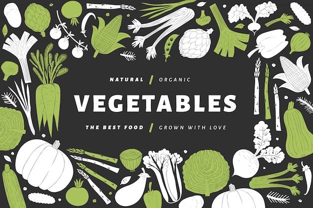 Cartoon hand drawn vegetables frame Premium Vector
