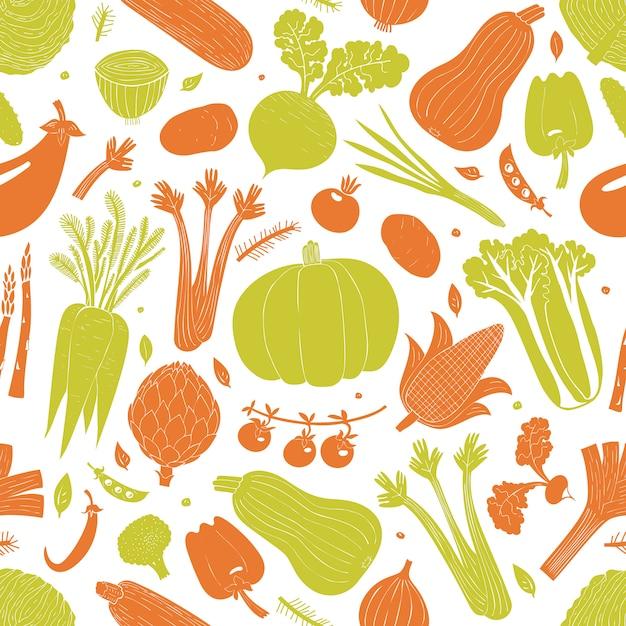 Cartoon hand drawn vegetables seamless pattern Premium Vector