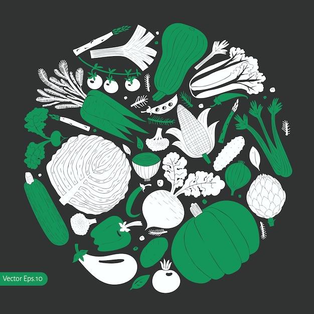 Cartoon hand drawn vegetables Premium Vector