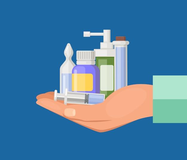 Cartoon hand keeping pile of medicines. medical drug and medicament pills Premium Vector