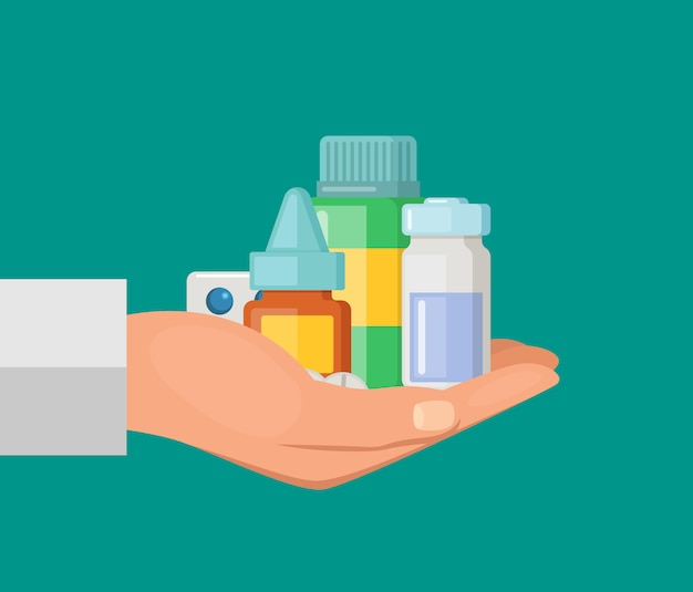 Cartoon hand keeping pile of medicines pills and bottle Premium Vector
