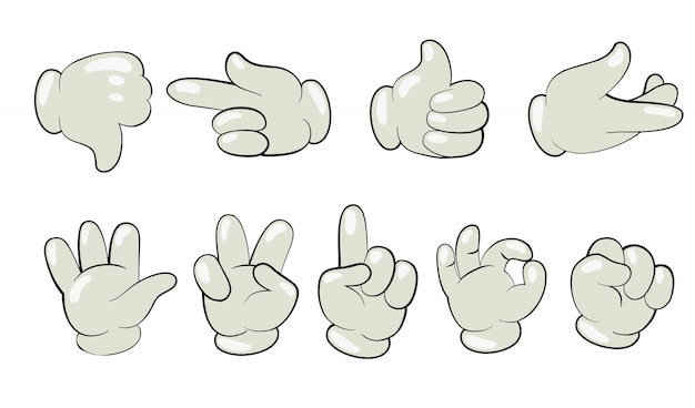 Cartoon hands in gloves set Free Vector