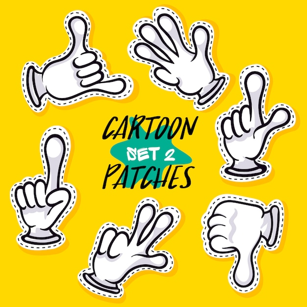 Cartoon hands showing different signs Premium Vector