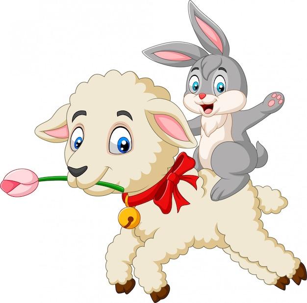 Cartoon happy bunny riding a lamb Premium Vector