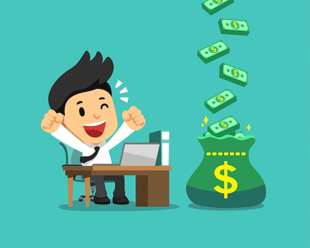 Cartoon happy businessman with big bonus money bag Premium Vector