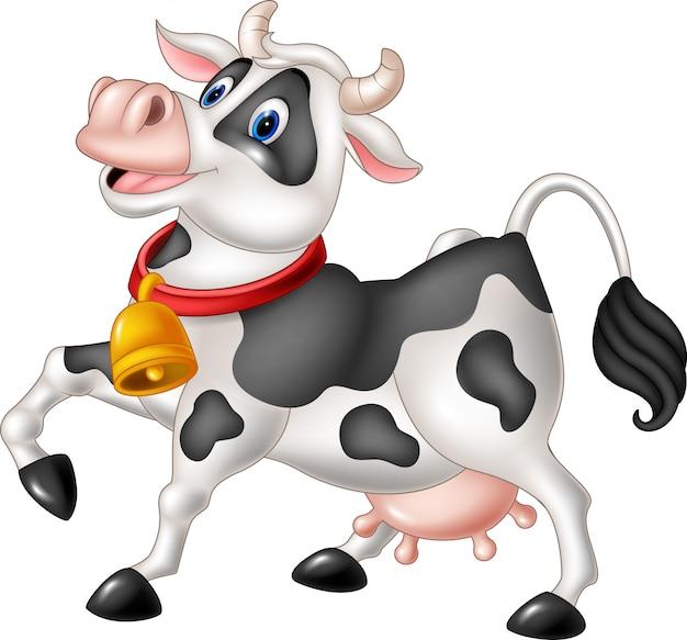 Cartoon happy cow isolated on white background Premium Vector