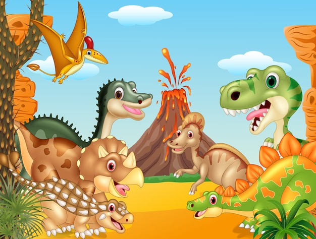 Cartoon happy dinosaurs with volcano Premium Vector