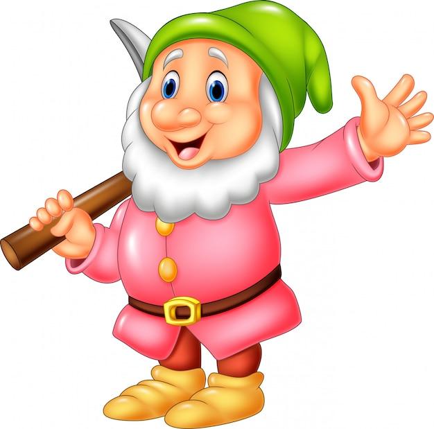 Cartoon happy dwarf miner Premium Vector
