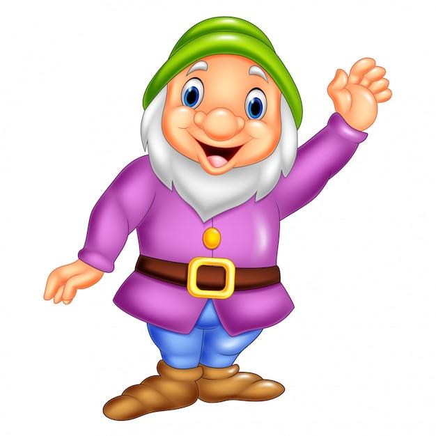 Cartoon happy dwarf waving Premium Vector