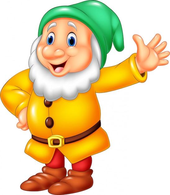 Cartoon happy dwarf Premium Vector
