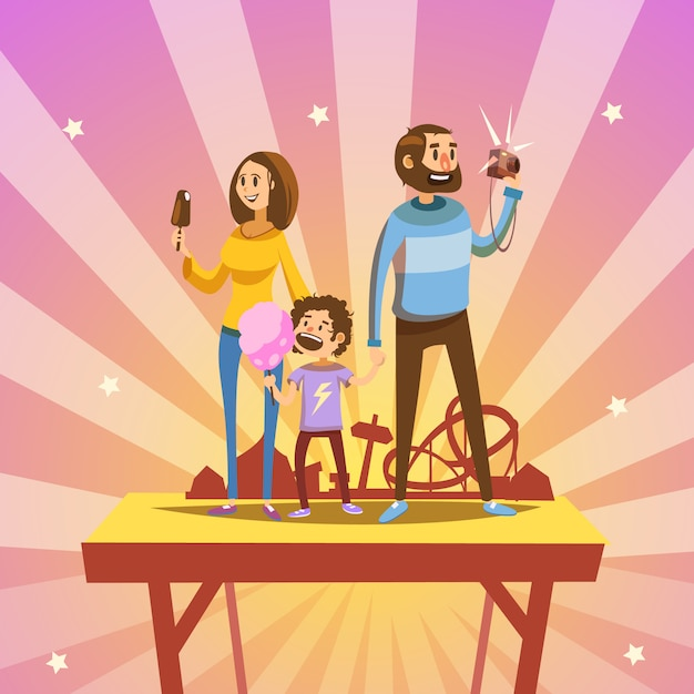 Cartoon happy family in amusement park with\ retro style attractions on background