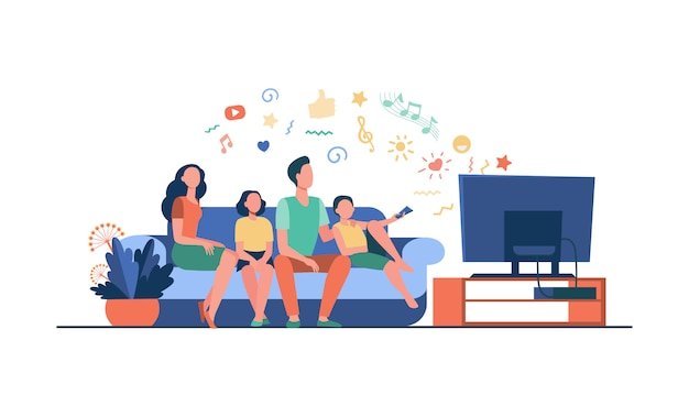Cartoon happy family watching television together Free Vector