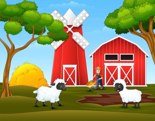 Cartoon happy farmer and sheep in the farm Premium Vector