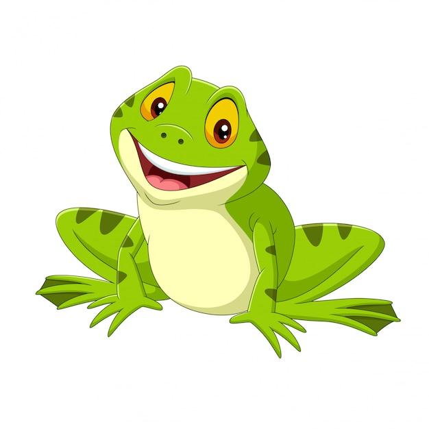 Cartoon happy frog on white Premium Vector