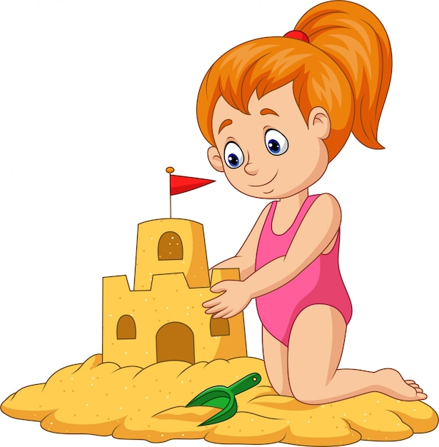Cartoon happy girl making sand castle Premium Vector