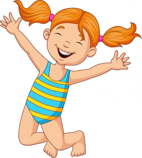 Cartoon happy girl in a swimsuit Premium Vector