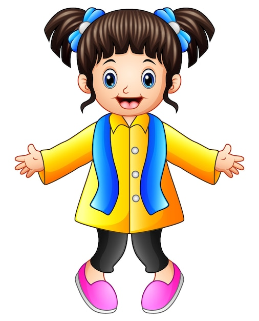 b84910f8a Cartoon happy girl in winter clothes Vector