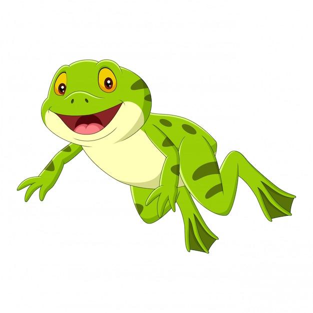 Cartoon happy green frog jumping Premium Vector