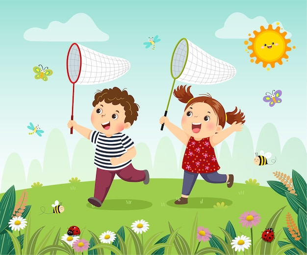 Cartoon of happy kids catching bugs in the field. Premium Vector
