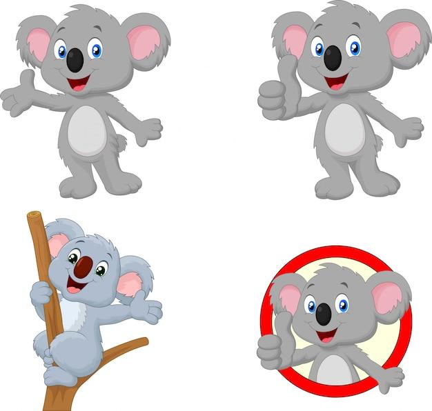 Cartoon happy koala collection set Premium Vector