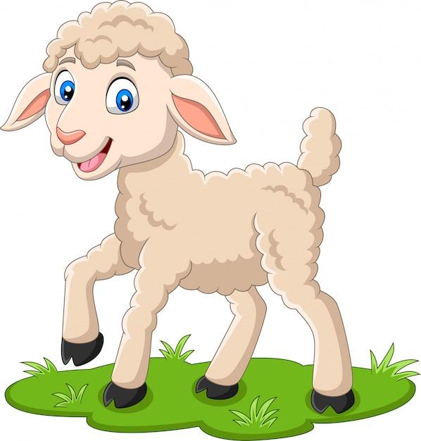 Cartoon happy lamb on the grass Premium Vector