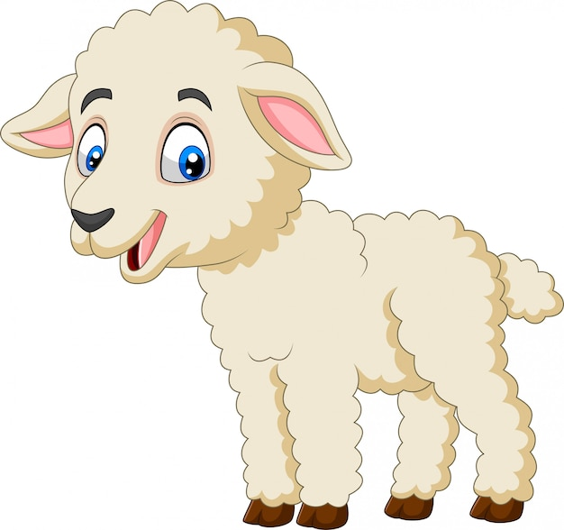 Cartoon happy lamb isolated on white background Premium Vector