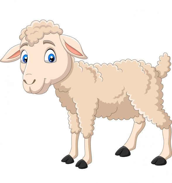 Cartoon happy lamb isolated on white Premium Vector