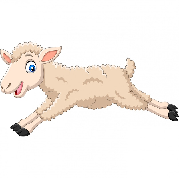 Cartoon happy lamb jumping on white Premium Vector