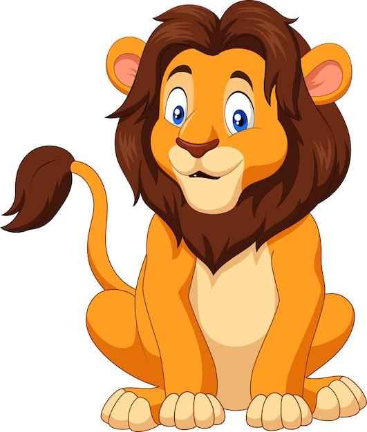 Cartoon Happy Lion Sitting Premium Vector