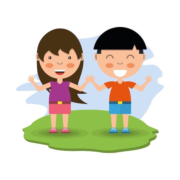 Cartoon Happy Little Girl And Boy Vector Premium Download