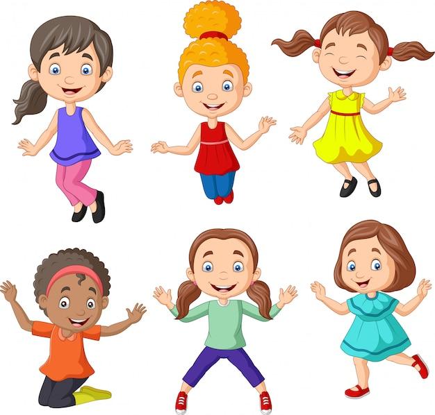 Cartoon happy little girls with different pose Premium Vector